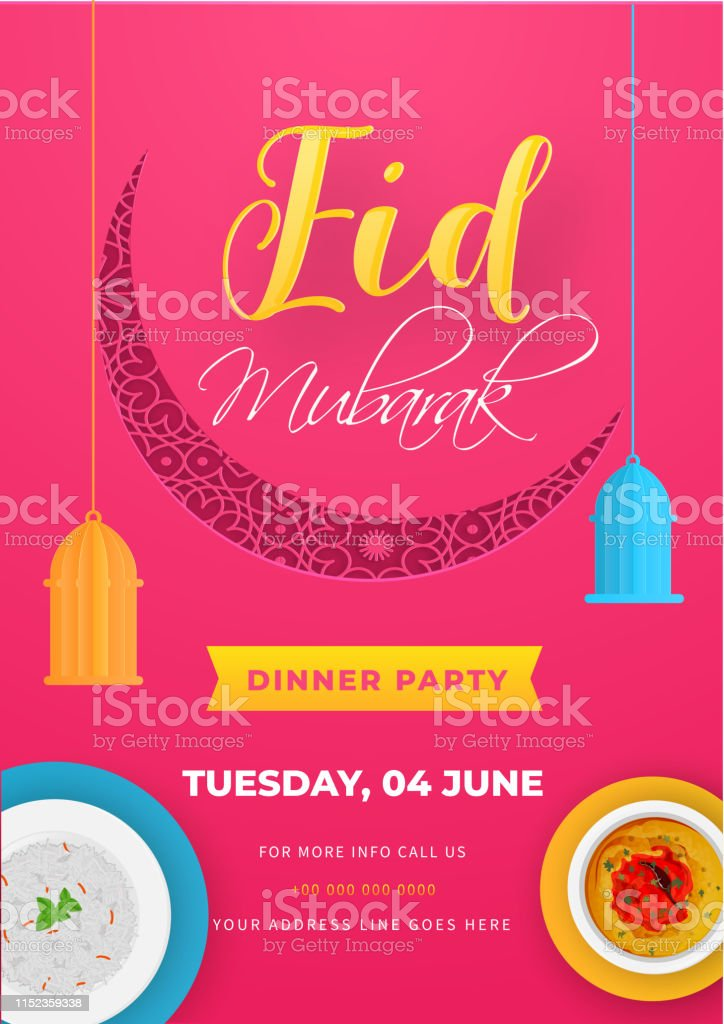 Eid Mubarak Invitation Card Design With Delicious Foods And