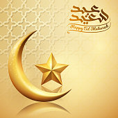 Eid Mubarak islamic greeting banner background with glow gold crescent and star symbol on arabic pattern - Translation of text : May Generosity Bless you during the holy month