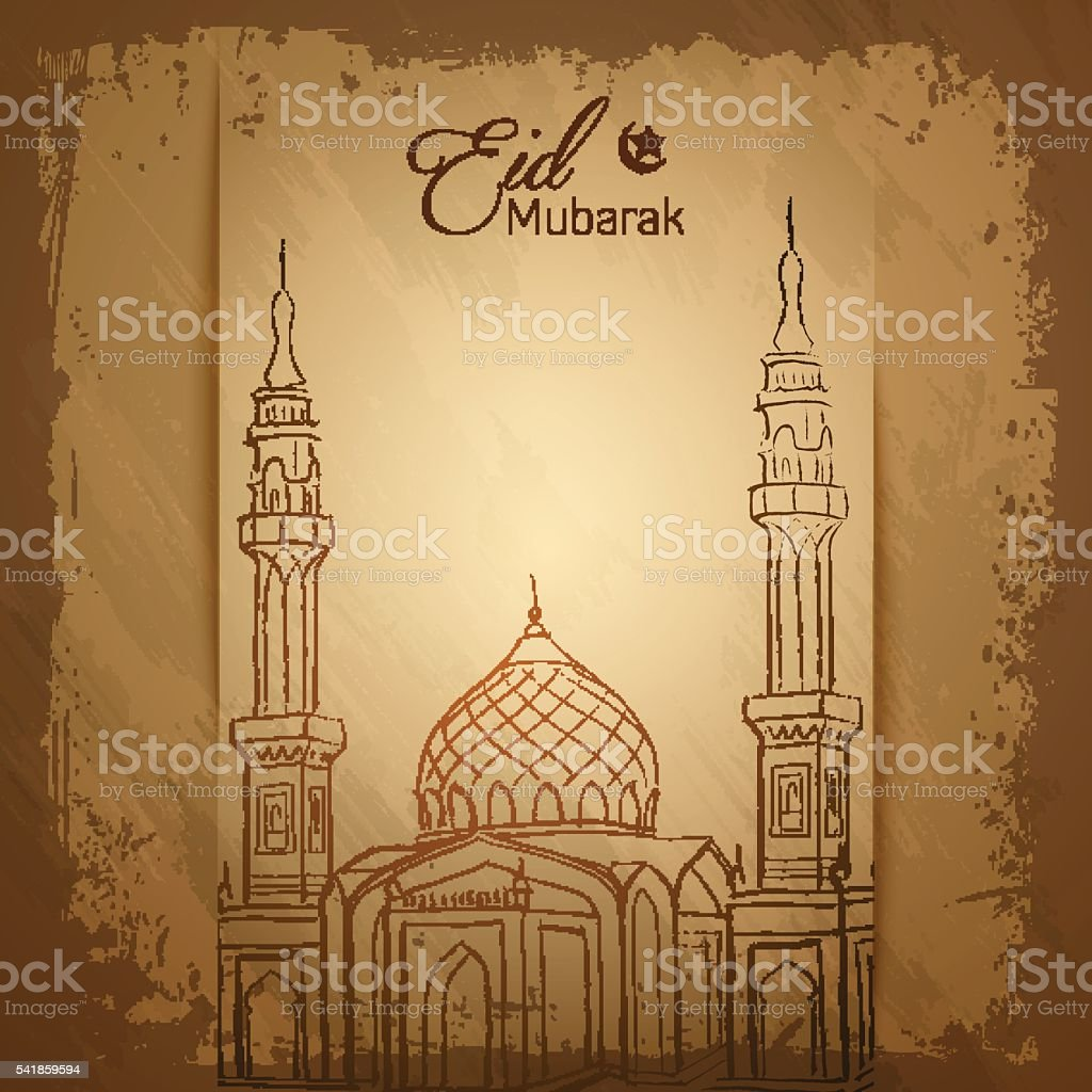 Eid Mubarak Islamic Greeting Card Background Stock Vector Art More