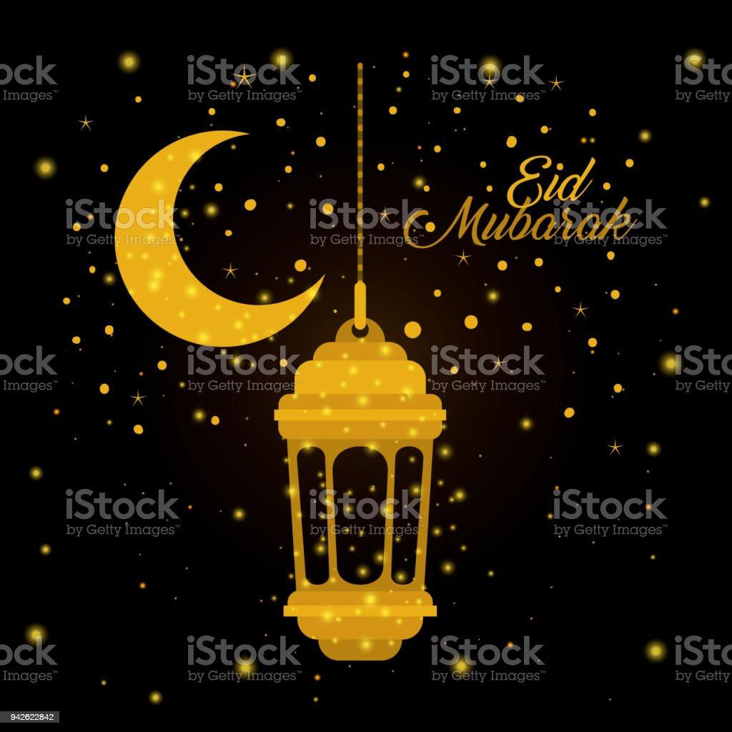 Eid Mubarak Lantern With Moon And Stars Stock Illustration Download Image Now Istock