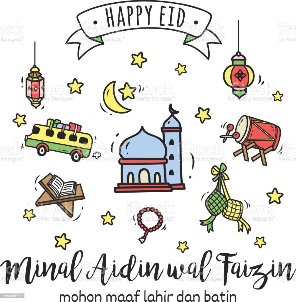 Eid Mubarak Or Idul Fitri Greeting Card In Cartoon Doodle