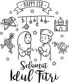 Eid mubarak or idul fitri greeting card in cute cartoon doodle style