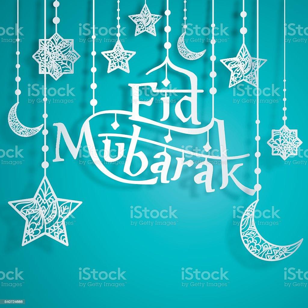 Eid Mubarak Papercut Style with Islamic Crescent Star vector art illustration