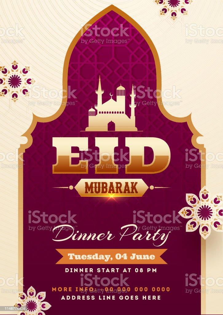 Eid Mubarak Party Invitation Card Design With Illustration