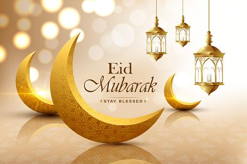 Eid mubarak, realistic crescent moon, wish greeting poster, illustration vector