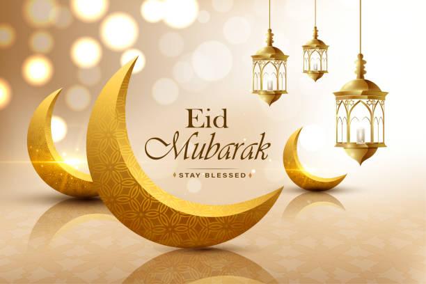 Eid mubarak, realistic crescent moon, wish greeting poster, illustration vector Eid mubarak, realistic 3D looking crescent moon, wish greeting poster, illustration vector eid mubarak stock illustrations