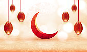 Eid mubarak, realistic crescent moon, wish greeting poster, illustration vector stock illustration