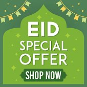 Eid Mubarak sale vector illustration. Flyer, Discount, Greeting card, Poster, Banner, Offer of Eid Celebration.