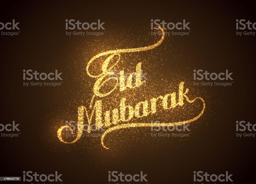 Eid Mubarak shiny label vector art illustration
