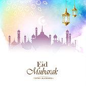 Eid mubarak, stay blessed colorful greeting vector illustration