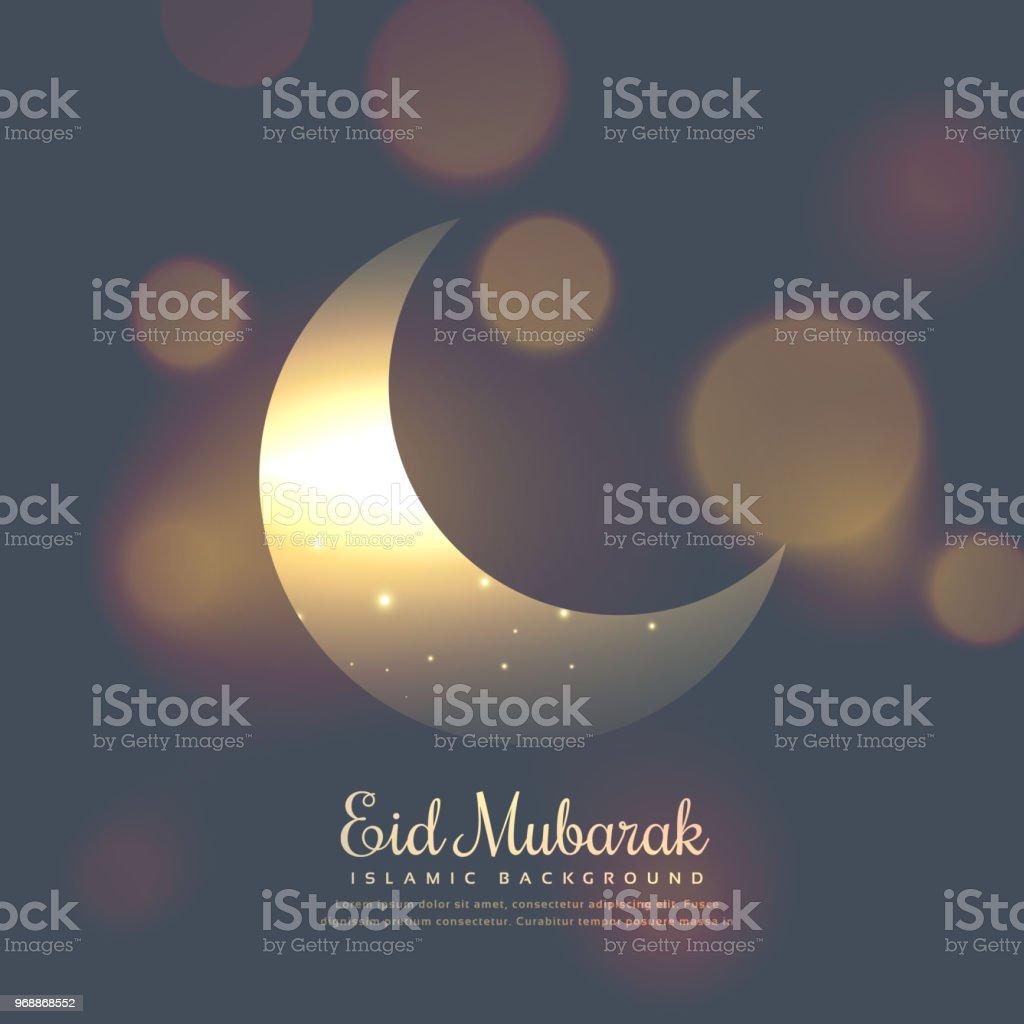 eid mubarak stylish design with shiny moon vector art illustration