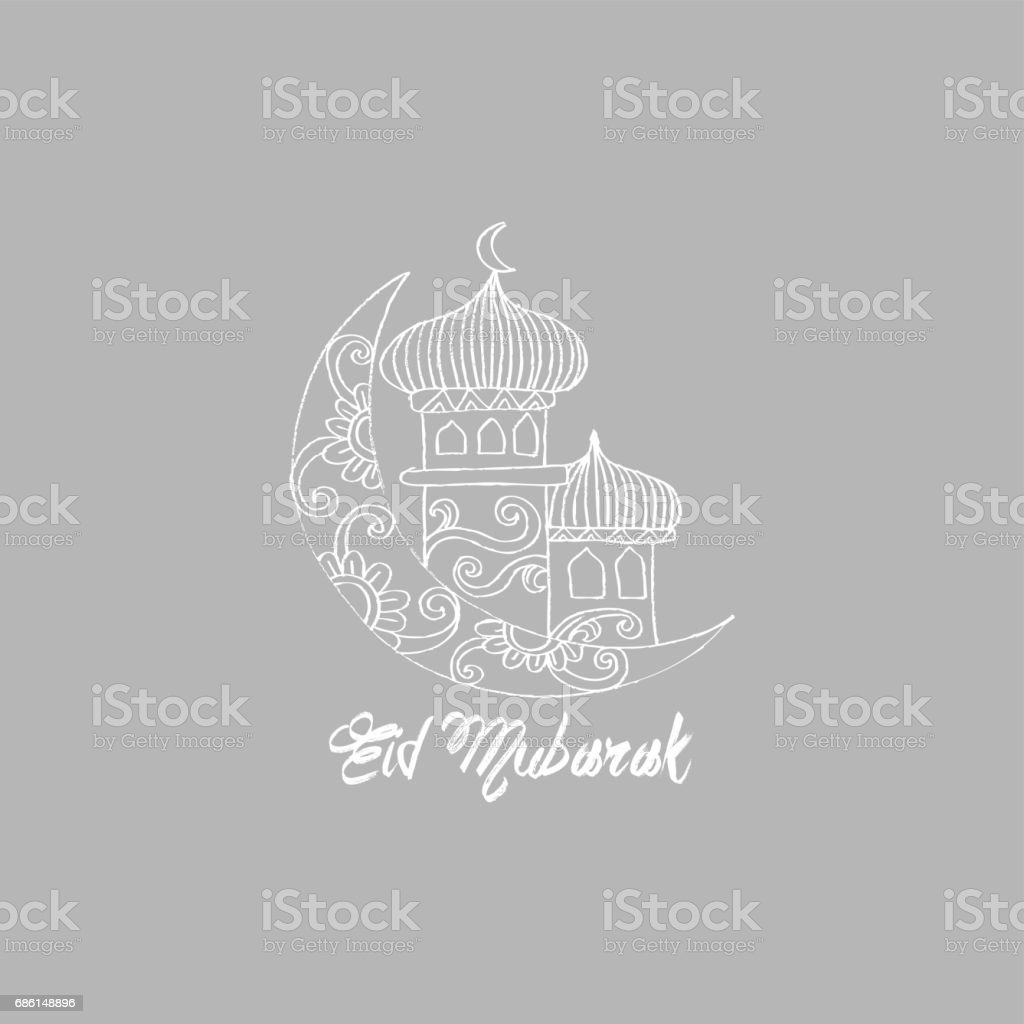 Eid Mubarak text with moon and Mosque. vector art illustration