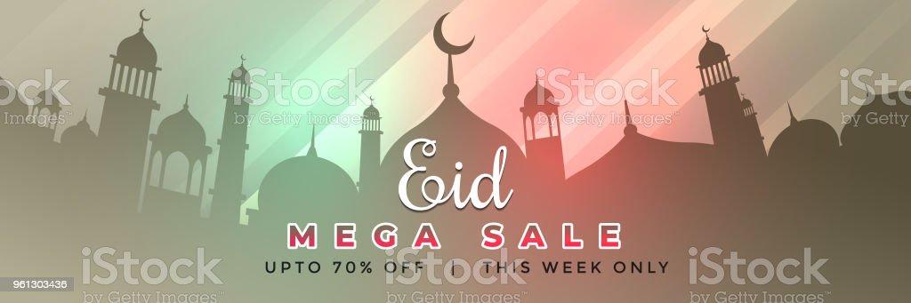 eid mubarak web banner design with offer and sale details vector art illustration