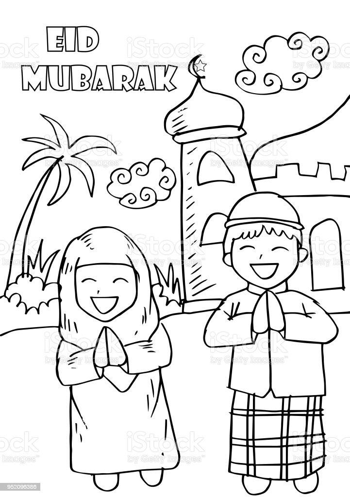 Eid Mubarak Avec Enfants Heureux Coloriage Carte De Voeux Vecteurs