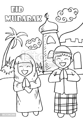 ramadan mubarak coloring pages - eid mubarak with happy kidscoloring greeting card stock