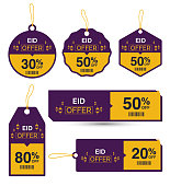Eid Offer Discount Sticker Collection Set Vector Illustration