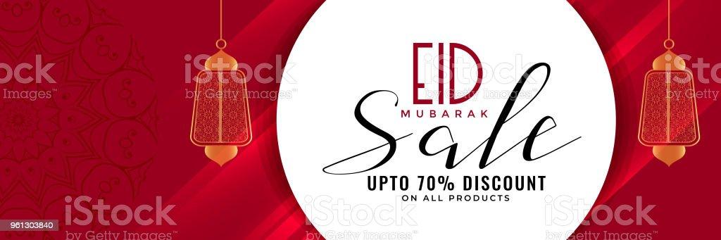 eid sale banner or header with hanging lanterns vector art illustration