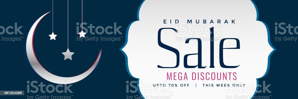 eid sale web banner or header design with crescent moon vector art illustration