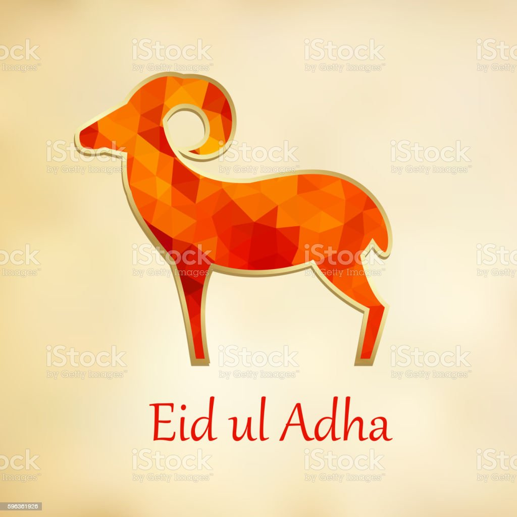 Eid Ul Adha greeting card. Silhouette of polygonal sheep. royalty-free eid ul adha greeting card silhouette of polygonal sheep stock vector art & more images of abstract