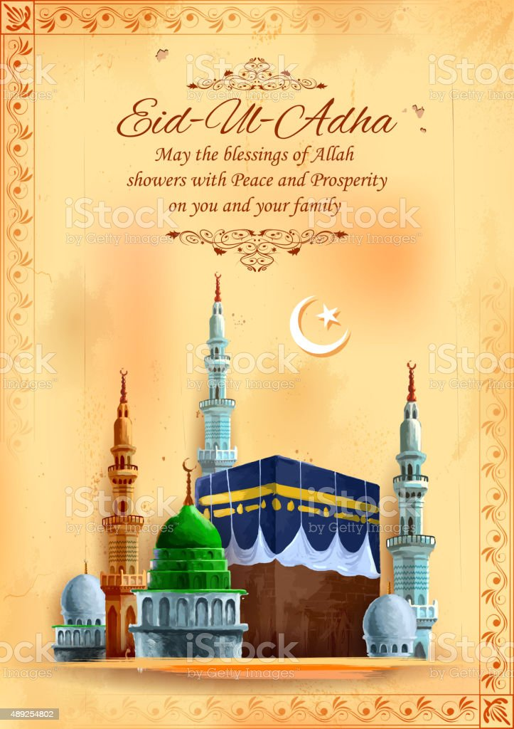 Eid ul Adha, Happy Bakra Id background with Kaaba vector art illustration