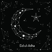Beautiful abstract design element of the Islamic culture of the Crescent with the star, drawn for for muslim community festival Eid ul Adha.