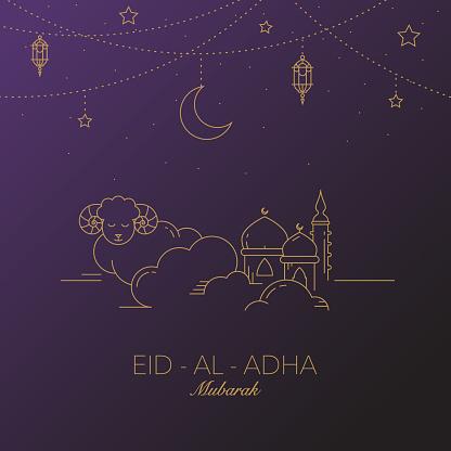 Eid-al-Adha Mubarak Vector Graphic Card.