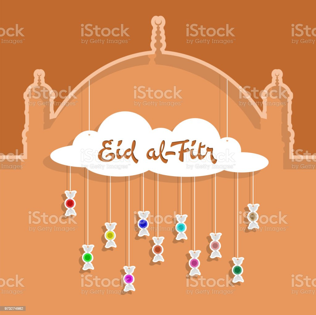 Eid-al-Fitr Gruß mit Papier ausgeschnitten bonbons – Vektorgrafik