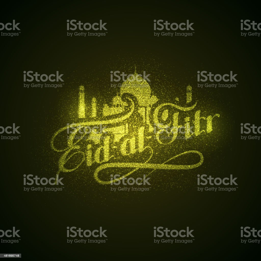 Eid-al-Fitr shiny label with sparkles. vector art illustration