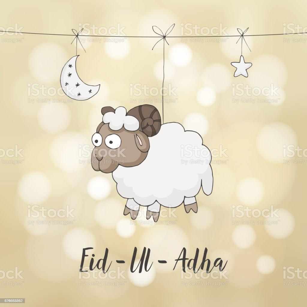 Eiduladha greeting card decoration with hand drawn sheep moon stars eid ul adha greeting card decoration with hand drawn sheep moon m4hsunfo