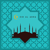 Eid-Ul-Adha Greeting Card With Beautiful Ornament