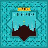 Eid-Ul-Adha Greeting Card With Beautiful Ornament