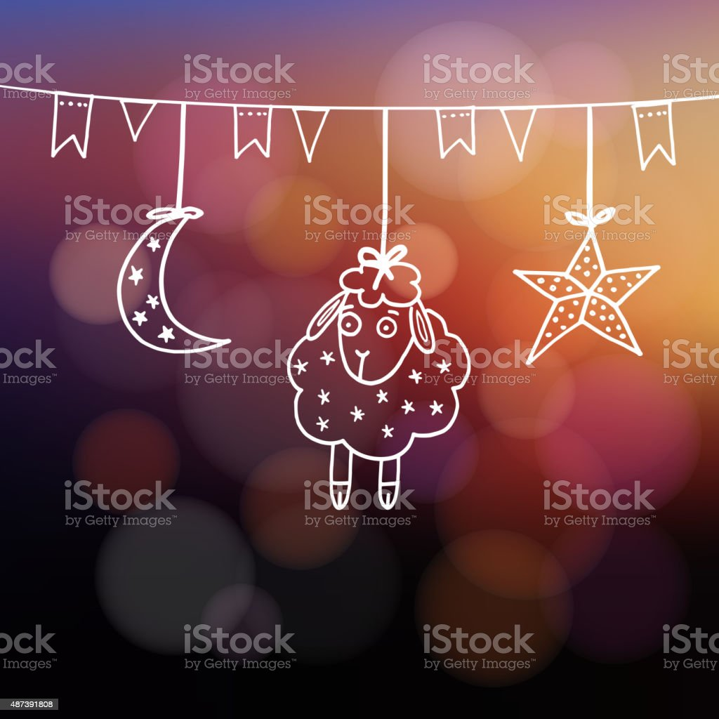 Eid-ul-adha greeting card with sheep, moon, star and flags vector art illustration