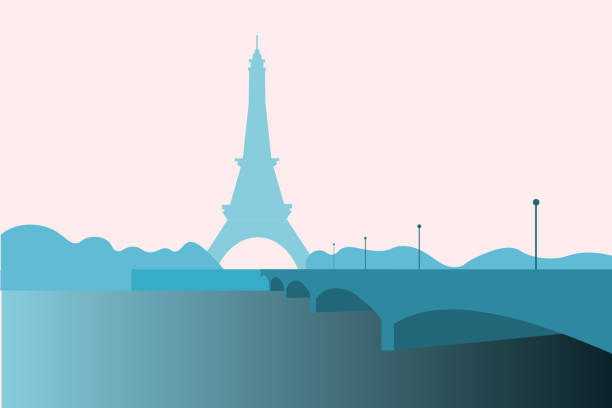 Eiffel Tower, a wrought-iron structure erected in Paris for the World Exhibition of 1889 Eiffel Tower, a wrought-iron structure erected in Paris for the World Exhibition of 1889, vector illustration seine river stock illustrations