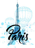 Eiffel Tower and air balloons on a blue background. Vintage travel background.