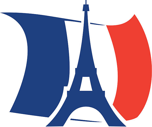 エッフェル塔とフランスの旗 ベクターアートイラスト