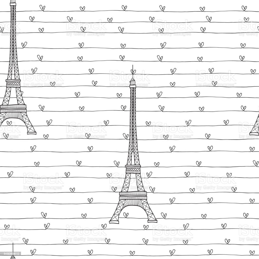 Eiffel Tower and hearts.  Seamless romantic pattern on a white background. Vector illustration. vector art illustration
