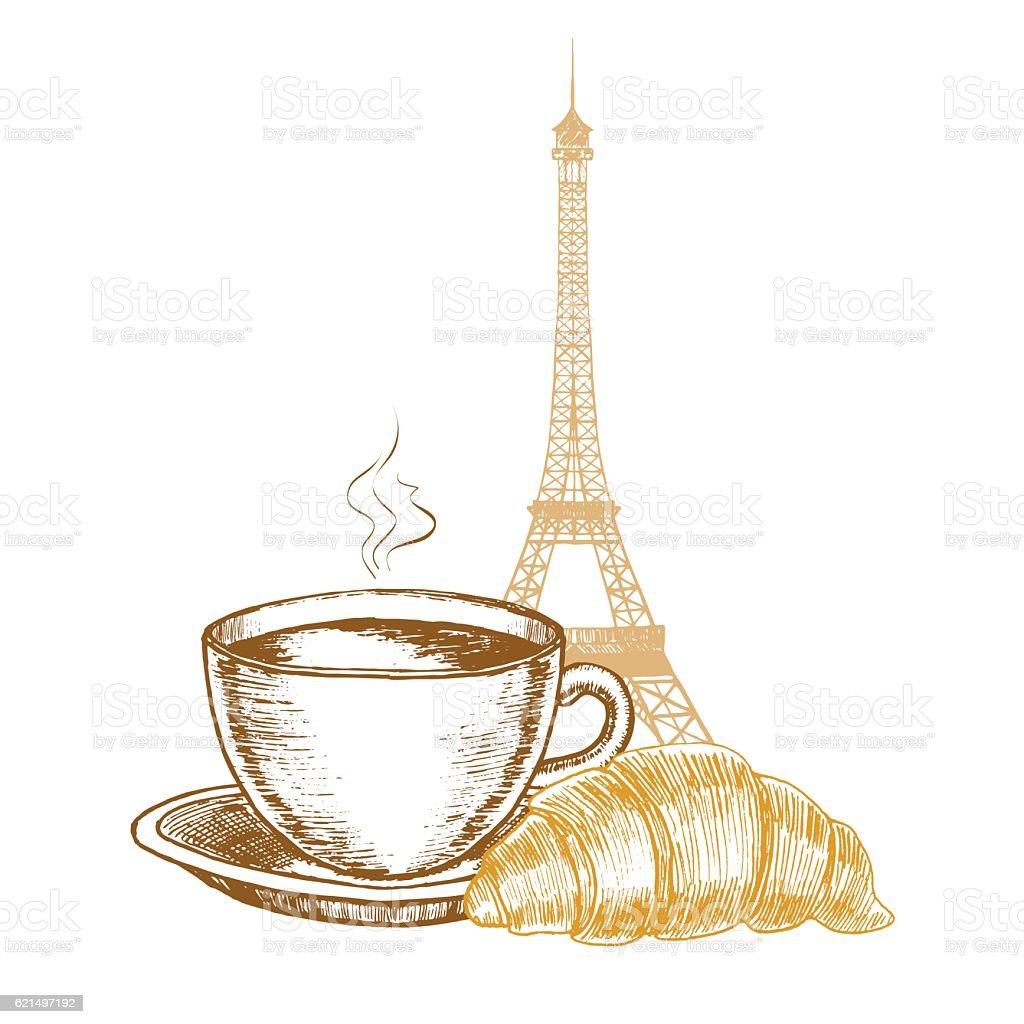 Eiffel Tower, Croissant and Coffee Cup in Paris Hand Draw Lizenzfreies eiffel tower croissant and coffee cup in paris hand draw stock vektor art und mehr bilder von altertümlich