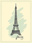 Vintage postcard with a sketch of the Eiffel tower and inscription Paris