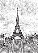 Engraving illustration of the Eiffel Tower.