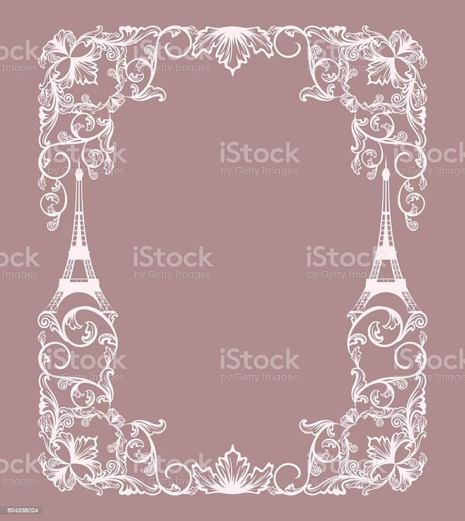 eiffel tower frame background royalty free stock vector art - Eiffel Tower Picture Frame