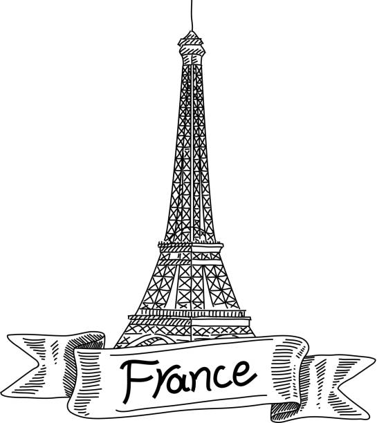 Eiffel Tower, France, Drawing Line drawing of Eiffel Tower, France. it is single layered and grouped contains eps10 and high resolution jpeg. paris black and white stock illustrations