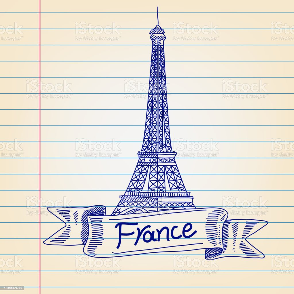 Eiffel Tower France London Drawing On Lined Paper Stock