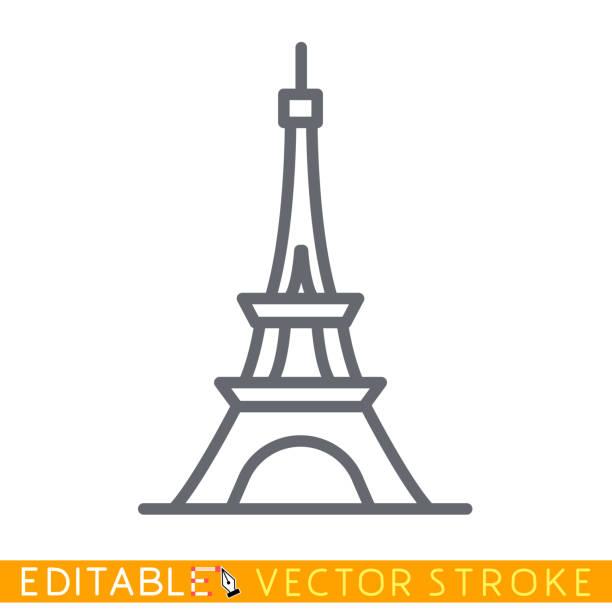 illustrations, cliparts, dessins animés et icônes de icône de la tour eiffel. les meilleures destinations touristiques du monde. graphismes de jeu de traits vectoriels modifiables. - tour eiffel