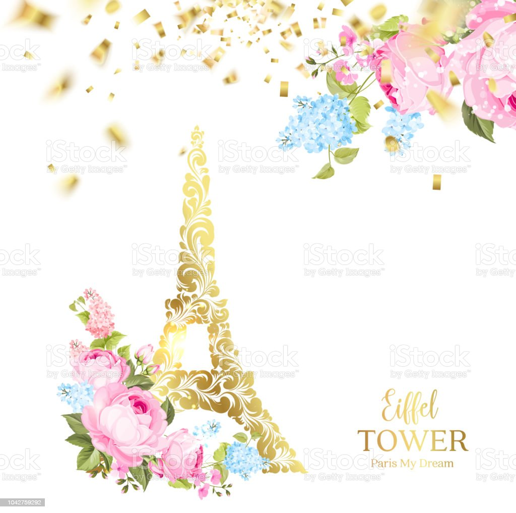 Eiffel Tower Icon With Golden Confetti Falls Isolated Over White