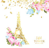 Eiffel tower icon with Golden confetti falls isolated over white background and blooming spring flowers in the bottom. Vector illustration.