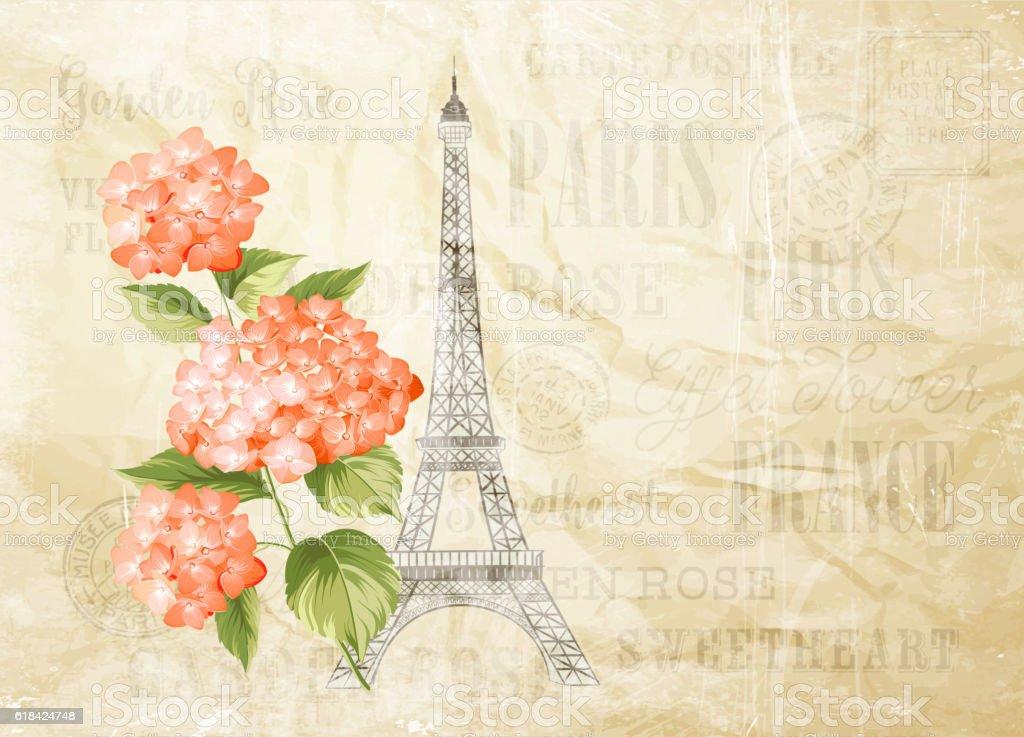 Eiffel tower illustration. vector art illustration