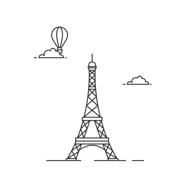 Eiffel tower illutsration Eiffel tower line art illutsration on white background eiffel tower stock illustrations