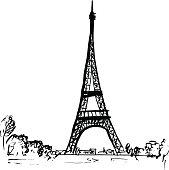 Eiffel tower in Paris, France. Hand-drawn ink sketch