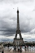 Paris in the rain. Desaturated Mezzotint illustration of the Eiffel Tower on a rainy day.