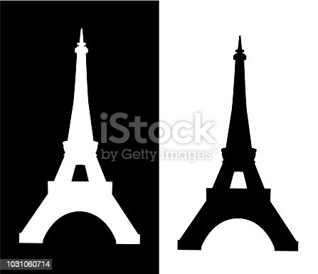 Eiffel tower isolated vector illustration collection silhouette